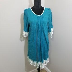 UMGEE Teal Tunic Dress Lace Trim SZ 1XL